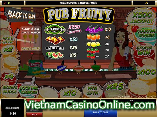 Pub Fruity Slot - Payline